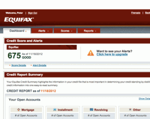 Screenshot of new Equifax Canada website, logged in